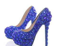 90f5daad0 Sapato de Debutante e Noiva Azul Royal Personalizado | Elo7