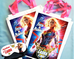 Kit Festa do Pijama Bolsinha + Máscara Capitã Marvel