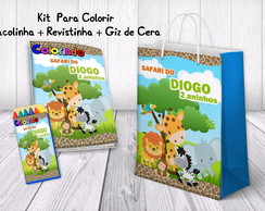 Kit de Colorir Safari + Revistinha + Giz de cera