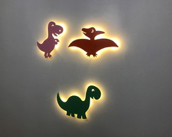 Kit 3 Luminosos Decorativos Dinossauros Kids