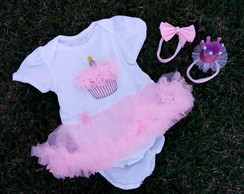 Kit PRONTA ENTREGA roupa Smash the cake Cupcake Rosa