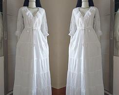Vestido Longo Algodão Laise Manga Longa Branco Elo7