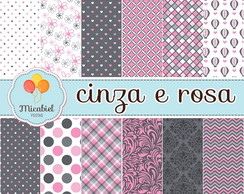 Papel Digital - Cinza e Rosa