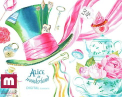 Kit scrapbook digital aquarela cliparts Alice