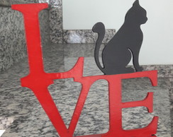 Placa Decorativa Love Miau (Gato)