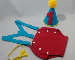 Roupa de circo Smash the Cake 1 ano com chapéu lisa