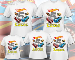 Kit 5 Camisas Hot Wheels
