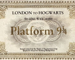 Ticket Plataforma 9 3/4 Harry Potter