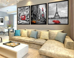 Kit 3 Quadros Decorativos, Londres Paris e Nova York Cidades