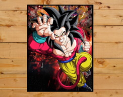 Quadro Decorativo Goku Dragon Ball Gt Super Sayajin 4 30x42