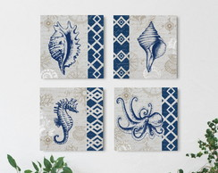 4 Quadros Decorativos Mar do Caribe