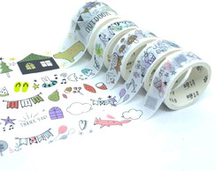 Kit Washi Tapes - Casa e Bichinhos Fofos(5 Unidades)