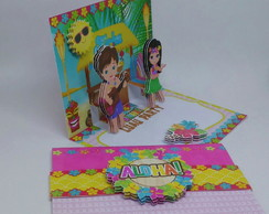 CONVITE FESTA ALOHA- HAVAI- pop up
