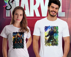 Kit duas camisetas Filme Marvel Capitã Marvel Thanos