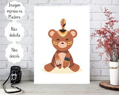 Placa decorativa Personalizada Infantil Animais Urso Tribal