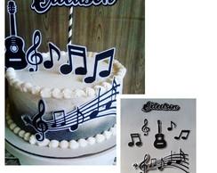24//30//Personalizados Notas Musicales Instrumentos Musicales Cupcake Toppers Papel de arroz
