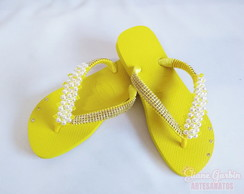 Chinelo Havaianas Customizado Manta Pérolas e Strass 02