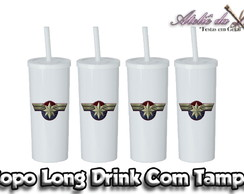 Copo Long Drink Com Tampa - Capitã Marvel