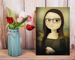 Placa decorativa monalisa geek