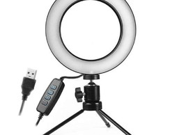 Iluminador Ring Light Led C/ Tripe Usb 16cm Selfie Blogueira