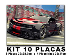 Kit 10 Placas decorativas carros