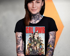 Camiseta Girl Power Grl Pwr Capitã Marvel Baby Long Gamora