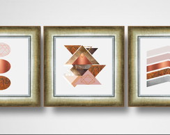 Quadro Decorativo Abstrato Tons Rosé Gold Moldura Dourada