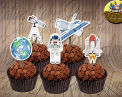 Astronauta 50 toppers tags para doces