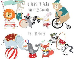 Kit clipart aquarela png scrapbook digital circo animais