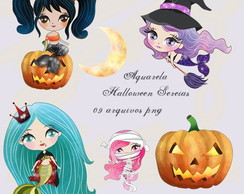 Kit Arquivo Digital em PNG Aquarela Cute Halloween Sereias