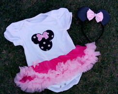PRONTA ENTREGA Kit roupa Smash the cake Minnie Rosa