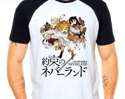 Camiseta The Promised Neverland Anime Raglan Manga Curta
