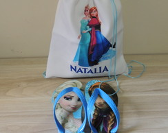 Kit Festa do Pijama - Mochila Saco + Chinelo Frozen