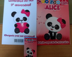 Revista p/ colorir + giz - Panda