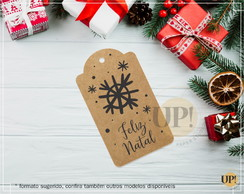 Tag Kraft para presentes Feliz Natal Flocos