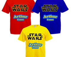 Camiseta Colorida Kit com 3 Star Wars