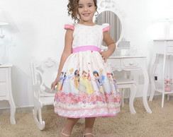 Vestido infantil tema as princesas da disney