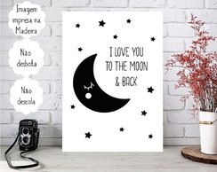 Placa decorativa Personalizada I love you to the moon e Back
