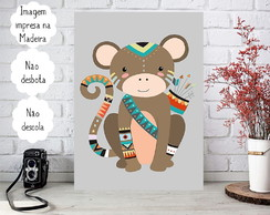 Placa decorativa Personalizada Infantil Animal Macaco Tribal