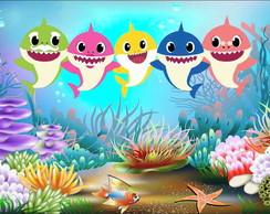 Painel Faixa Em Lona Tema Baby Shark Elo7
