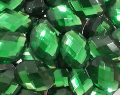 Chaton Oval Verde Bandeira 13x18mm 50 Unid