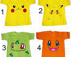 Camiseta divertida pokemon pikachu e amigos