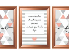 Quadro Decorativo Frases Abstrato Amor Fé Moldura Rose Gold