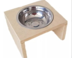 Comedouro Individual Gato Cachorro Pet Mdf 15mm C Pote 300ml