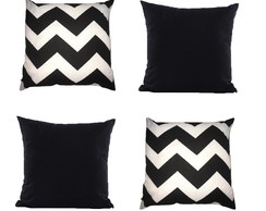 kit 4 Almofadas Chevron Preto Zig zag zigue decorativa 45x45