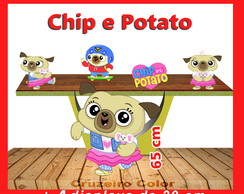 Display Chip e potato, totem enfeite de aniversario