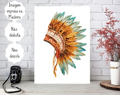 Placa Decorativa Quadro A4 - Tribal - Cocar indígena