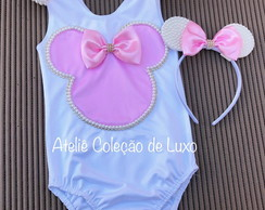 Collant da Minnie rosa bordado de pérolas com tiara