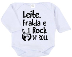 Body infantil - Leite, fralda e rock n roll