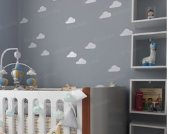 48 nuvens adesivas de 13cm para decorar quartinho do bebe